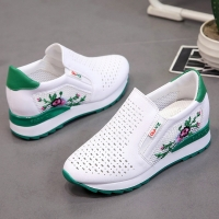 Women Casual Shoes Summer Spring Slip on Loafers Flower Mixed Colors Hollow Out Increasing Internal Height White Sneakers 35-40