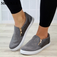 MCCKLE Spring Shoes Women Crystal Slip On Flat Loafers Zipper Embossed leather Ladies Glitter Platform Fashion Female Moccasins