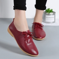 Women flats genuine leather shoes female fashion casual comfortable women shoes solid lace-up summer shoes woman ladies shoes