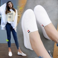 Women Sneakers White Flats Cut-Out Woman Loafers Pu Leather Slip on Shoes Low Heels Casual Shoes Espadrilles Ladies Shoes N7145