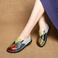 Designer Women Genuine Leather moccasins ladies ballet flats Mixed Colors Slip On Loafers Casual platform Shoes DC-97