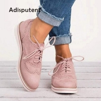 2019 Rubber Brogue Shoes Woman Platform Oxfords British Style Creepers Cut-Outs Flats Casual Women Shoes  Footwear