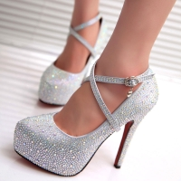 2020 crystal pumps women shoes platform high heels wedding shoes bride red silver platform high heels ladies shoes woman