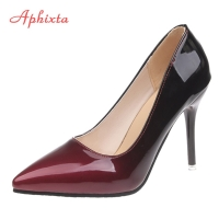Aphixta Pointed Toe Women Thin Heel Shoes 10cm Heels Pointed Toe Patent Leather Wedding Party Shoes Woman Big Size 48