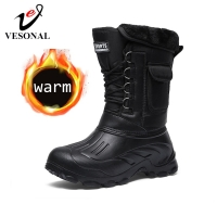 VESONAL 2020 Winter Camouflage Snow Men Boots Rain Shoes Waterproof With Fur Plush Warm Male Casual Mid-Calf Work Fishing Boot