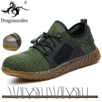 2020 New Breathable Mesh Safety Shoes Men Light Sneaker Indestructible Steel Toe Soft Anti-piercing Work Boots Plus size 36-48