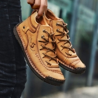 2019 Men Winter Shoes Leather Warm Men Shoes Comfortable Mans Footwear Fur Waterproof Ankle Boots Men Lace-up Shoes Big Size