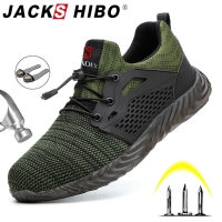 Jackshibo Safety Shoes Boots For Men Male Autumn Breathable Work Shoes Steel Toe Indestructible Safety Work Boots Sneakers
