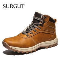 SURGUT Men Boots Genuine Leather Lace-up Men Shoes High Quality Vintage British Snow Boots Autumn Winter Men Casual Ankle Boots