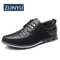 ZUNYU 2019 New Summer Autumn Leather Men Shoes Fashion Casual Shoes Lace-Up Loafers Business Wedding Dress Shoes Big Size 38-48