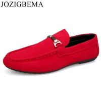 Men Casual Suede Leather Loafers Red Solid Leather Driving Moccasins Gommino Slip on Men Loafers Shoes Male Loafers Big Size