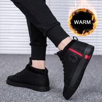 SUROM Quality PU Leather Men's Casual Shoes Winter Outdoor Waterproof Warm Sneakers Non-slip Rubber Fashion Low Male Shoes Adult