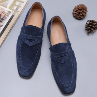 CIMIM Brand Leather Shoes Men Italian Men'S Dress Shoes 2019 High-End Custom Flock Big Size Office Business Loafers Men Shoes