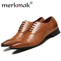 Merkmak Men Shoes 2020 New Spring Dress Shoes High Quality Business PU Leather Lace-up Footwear Formal Shoes for Wedding Party