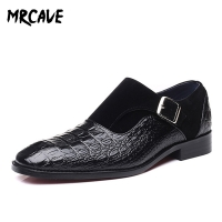 MRCAVE Luxury Brand PU Leather Fashion Men Business Dress Loafers Pointy Black Shoes Oxford Breathable Formal Wedding Shoes
