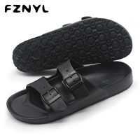FZNYL Men Sandals Summer Beach Walking Breathable Soft Shoes Buckle Strap Design Male Casual Flip Flops Classic Black Sandalias