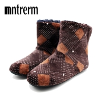 Mntrern Casual Men Shoes Home Slippers Lattice Soft Plush Male House Slippers Warm Winter New Cotton Slippers Shoes Men Big Size