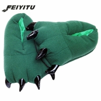 FeiYiTu 2019 New Funny Animal Paw Winter Men Slippers Unisex Claw Lovey Slippers Cute Plush Slippers Home Indoor Shoes black red