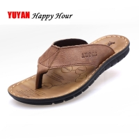 2020 Summer Shoes Men Slippers Genuine Leather Beach Slippers Mens Flip Flop Sandals Summer Men Shoes Male Flip Flops A673