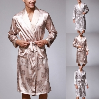 Men Robe Simulation Silk Print Pajamas Lingerie Robe Bathrobe Dressing Gown Sleepwear kimono homme #2