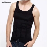 Men Tight Body Shapewear sleeveless Undershirt Vest wrestling Shirt Abs Abdomen Black White Slim Tummy Belly Slim men Underwear